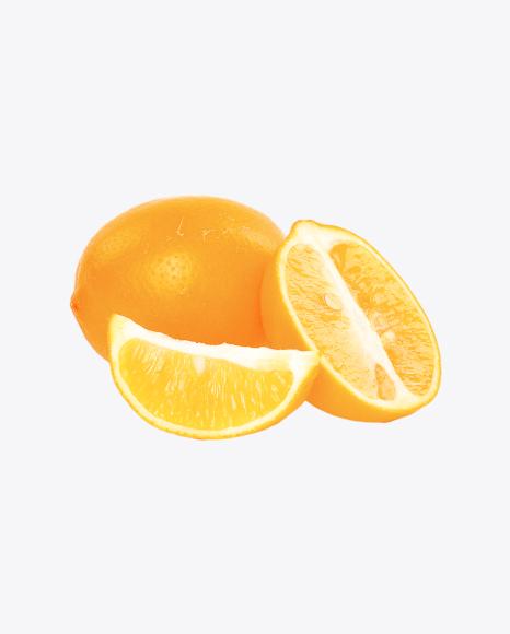 Orange Lemon with Half and Slice