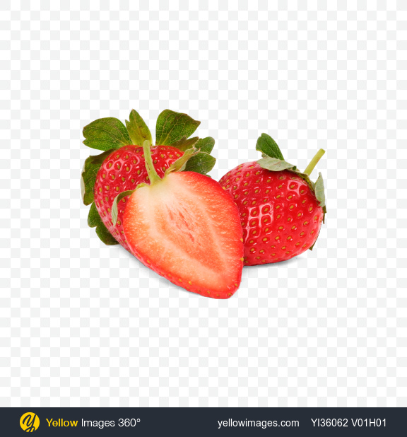 Download Strawberries and Half Transparent PNG on Yellow Images 360°