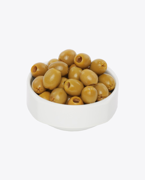 Green Pitted Olives in the Bowl