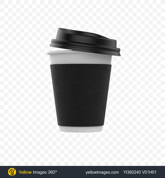 Download Small Coffee Cup with Lid Transparent PNG on Yellow Images 360°