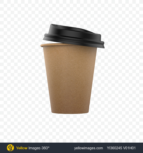 Download Small Craft Paper Coffee Cup with Lid Transparent PNG on Yellow Images 360°
