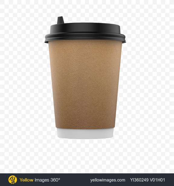 Download Medium Craft Paper Coffee Cup Transparent PNG on Yellow Images 360°