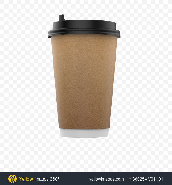 Download Big Craft Paper Coffee Cup Transparent PNG on Yellow Images 360°
