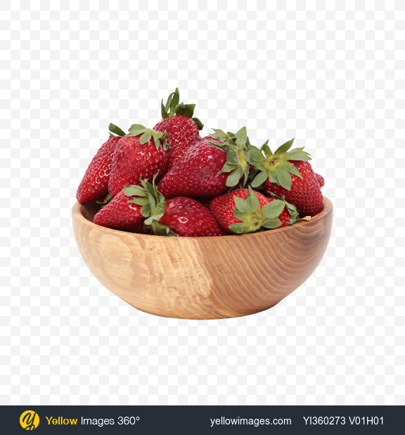 Download Strawberries in Bowl Transparent PNG on Yellow Images 360°