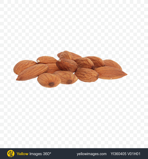Download Shelled Almonds Transparent PNG on Yellow Images 360°