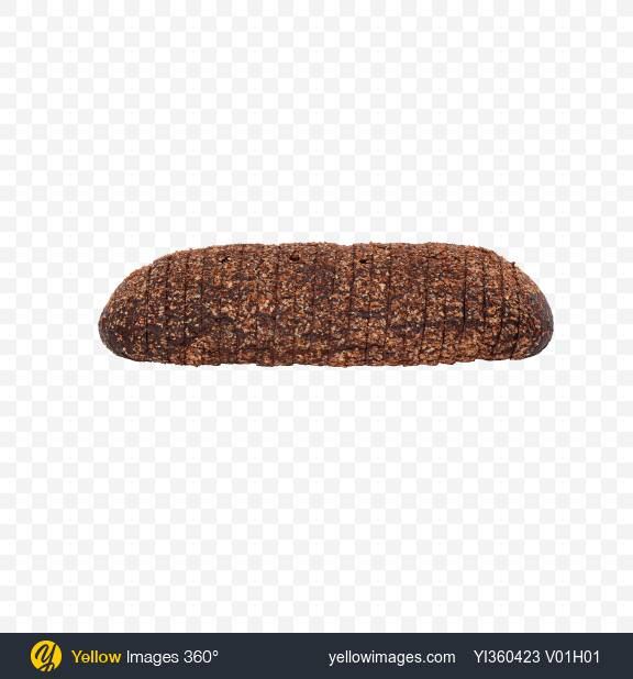 Download Sliced Loaf of Rye Bread Transparent PNG on Yellow Images 360°