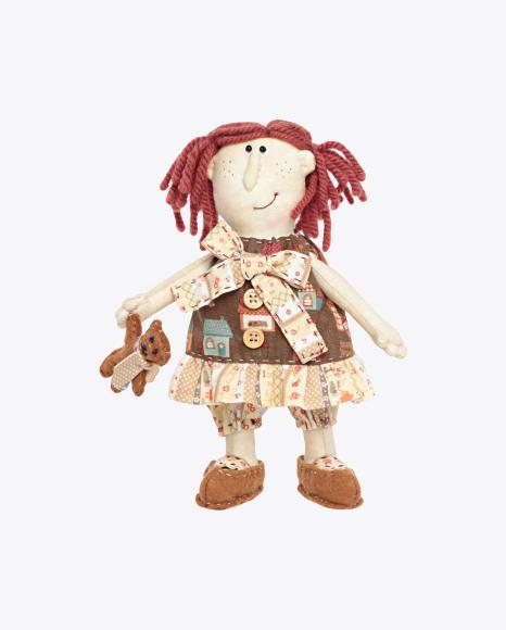 Soft Stuffed Girl Doll with Teddy Bear