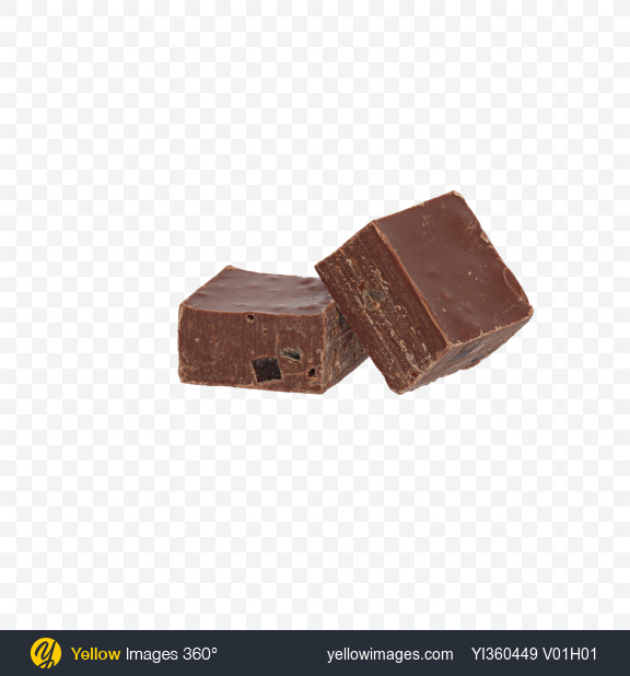 Download Two Milk Chocolate Pieces Transparent PNG on Yellow Images 360°