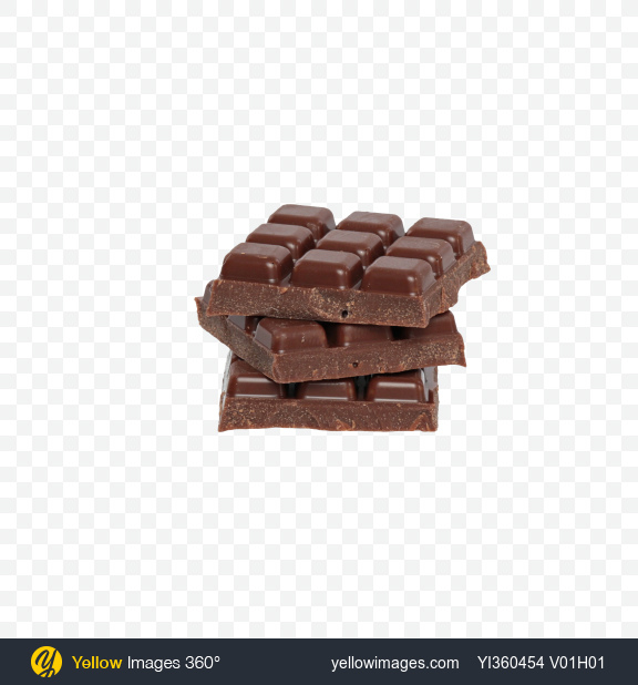 Download Three Milk Chocolate Bar Pieces Transparent PNG on Yellow Images 360°