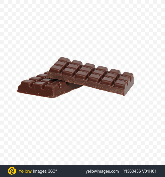Download Two Milk Chocolate Bar Pieces Transparent PNG on Yellow Images 360°