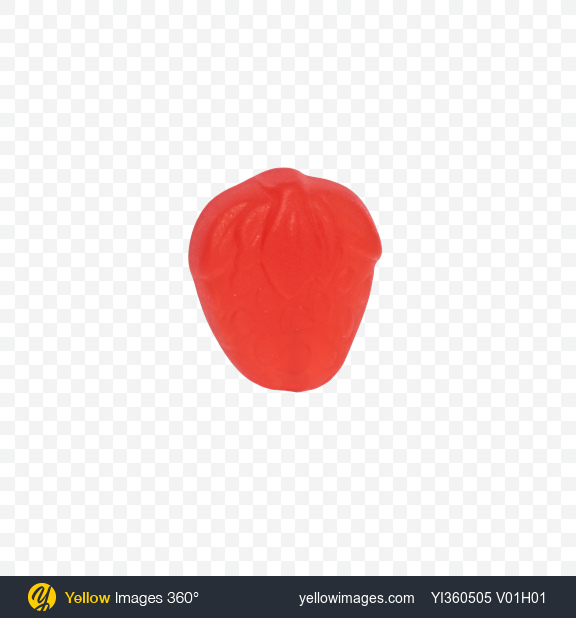Download Red Strawberry Fruit Jelly Piece Transparent PNG on Yellow Images 360°
