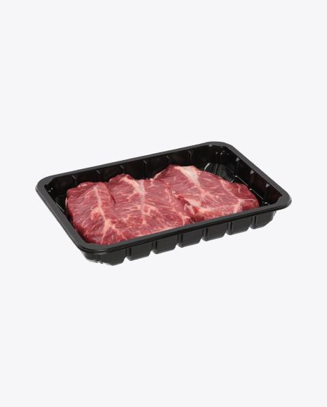 Raw Steaks in Tray