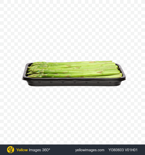 Download Fresh Asparagus Spears in Tray Transparent PNG on Yellow Images 360°