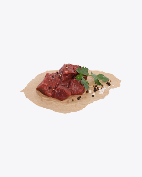 Diced Beef with Parsley, Pepper and Salt on Craft Paper