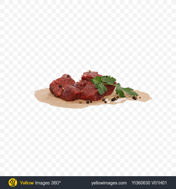 Download Diced Beef with Parsley, Pepper and Salt on Craft Paper Transparent PNG on PNG Images