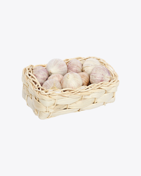 Garlic Bulbs in Wicker Basket