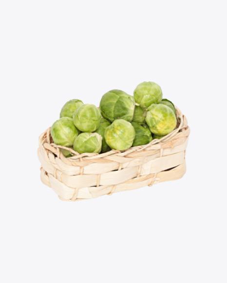 Brussels Sprouts in Wicker Basket