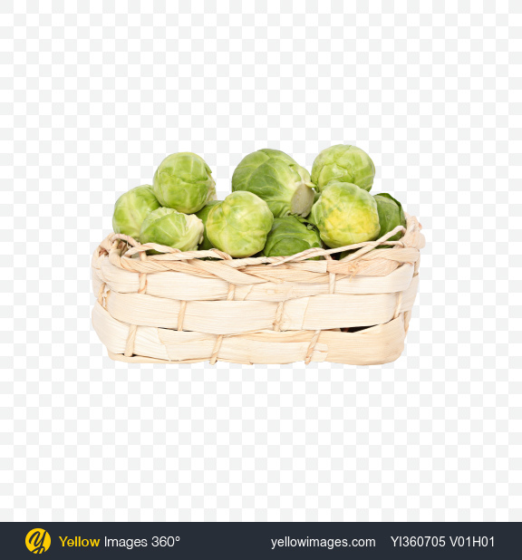 Download Brussels Sprouts in Wicker Basket Transparent PNG on Yellow Images 360°
