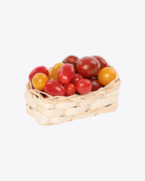 Mixed Tomatoes in Wicker Basket