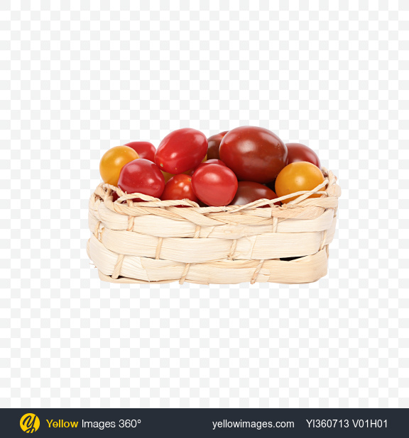 Download Mixed Tomatoes in Wicker Basket Transparent PNG on Yellow Images 360°