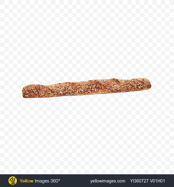 Download Rye-Wheat Baguette with Sesame Seeds Transparent PNG on Yellow Images 360°