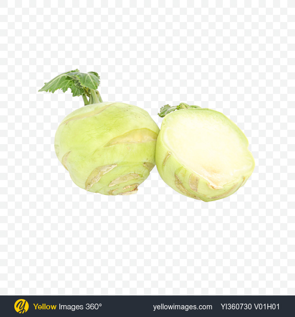 Download Kohlrabi and Half Transparent PNG on Yellow Images 360°