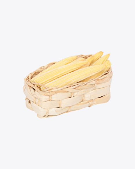 Baby Corn Cobs in Wicker Basket