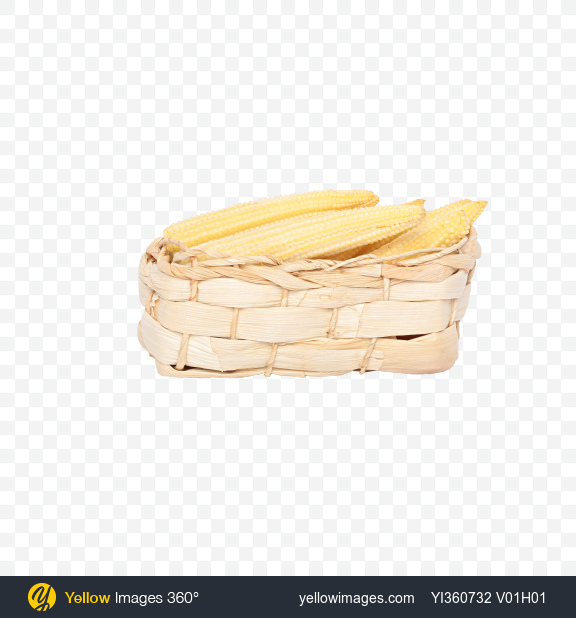 Download Baby Corn Cobs in Wicker Basket Transparent PNG on Yellow Images 360°