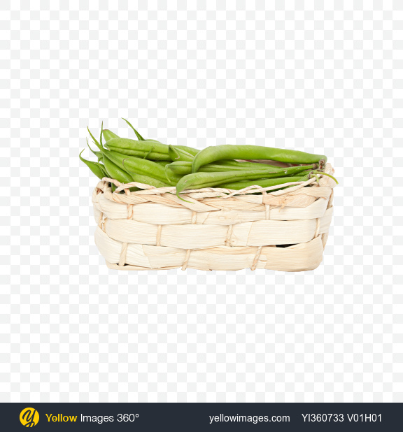 Download French Green Beans in Wicker Basket Transparent PNG on Yellow Images 360°