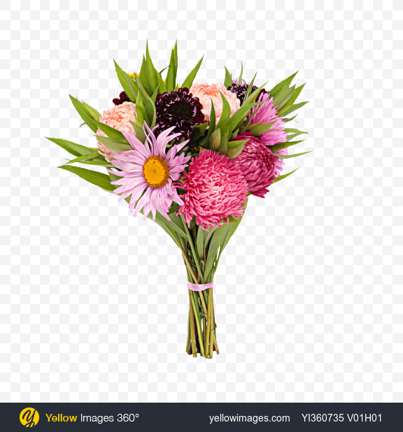 Download Mixed Flowers Bouquet Transparent PNG on Yellow Images 360°