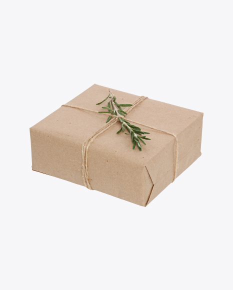 Christmas Gift Box Wrapped in Craft Paper with Rosemary