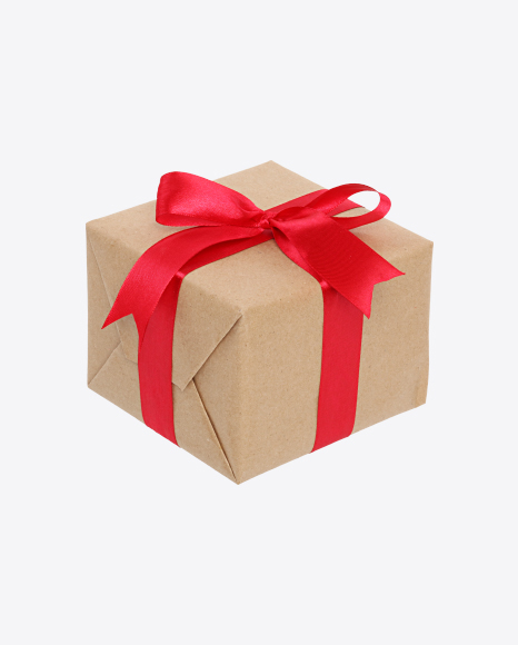 Christmas Gift Box Png.Download Christmas Gift Box Wrapped In Craft Paper With Red