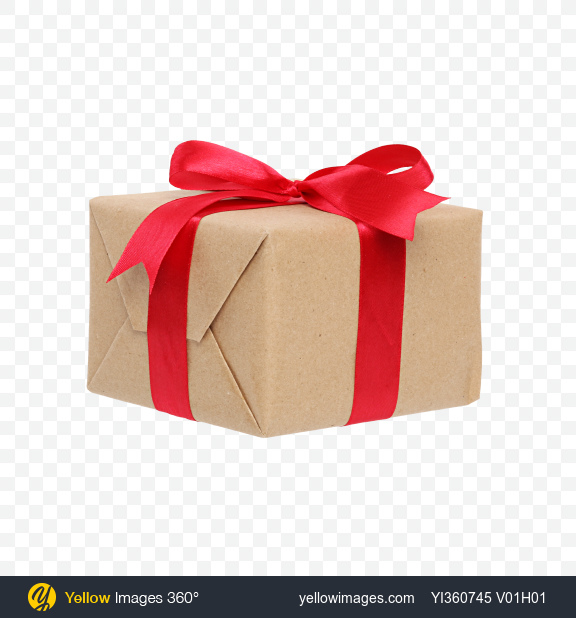Download Christmas Gift Box Wrapped In Craft Paper With Red Bow Transparent Png On Yellow Images 360
