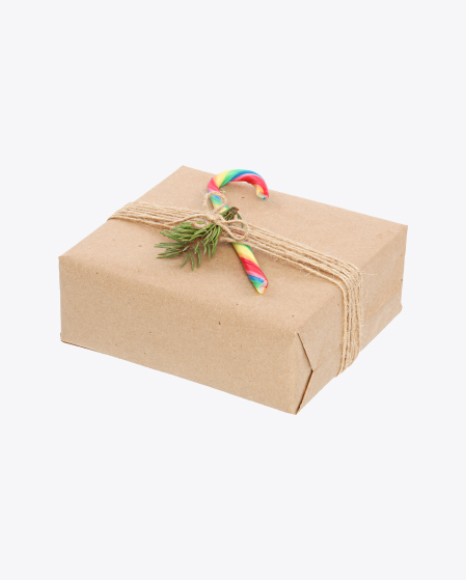 Christmas Gift Box Wrapped in Craft Paper with Candy Cane