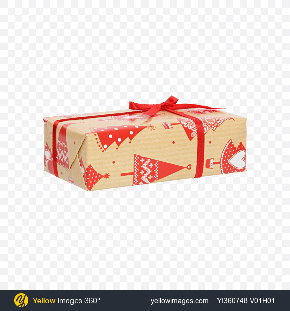 Download Christmas Gift Box Wrapped in Craft Paper with Christmas Trees Pattern Transparent PNG on YELLOW Images