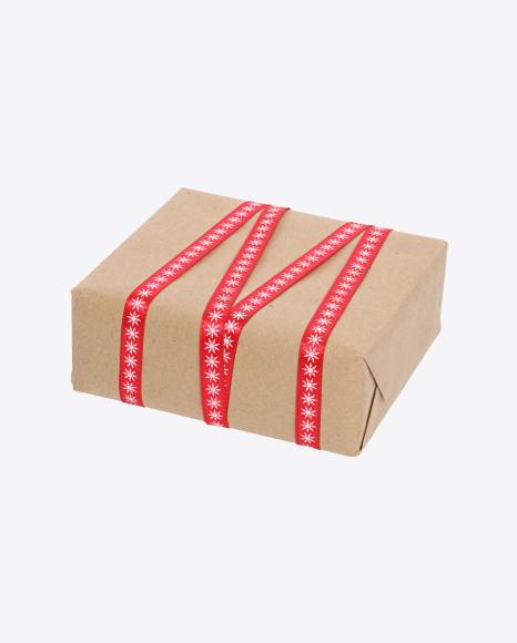 Christmas Gift Box Wrapped in Craft Paper with Red Ribbon