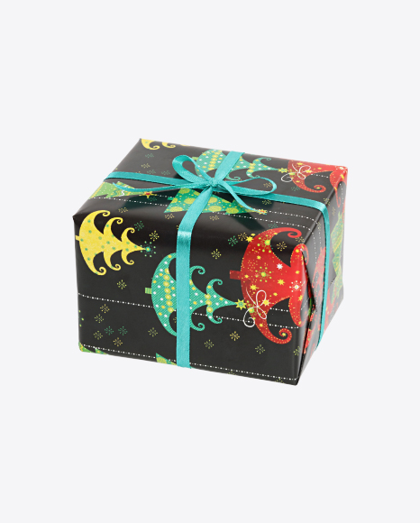 Christmas Gift Box Wrapped in Black Paper with Christmas Trees Pattern