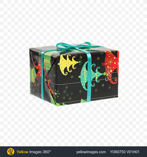 Download Christmas Gift Box Wrapped in Black Paper with Christmas Trees Pattern Transparent PNG on YELLOW Images