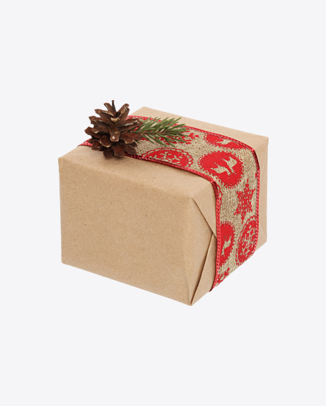 Christmas Gift Box Wrapped in Craft Paper with Linen Ribbon and Cone