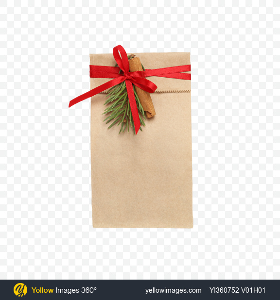 Download Christmas Gift in Paper Bag with Decor Transparent PNG on YELLOW Images