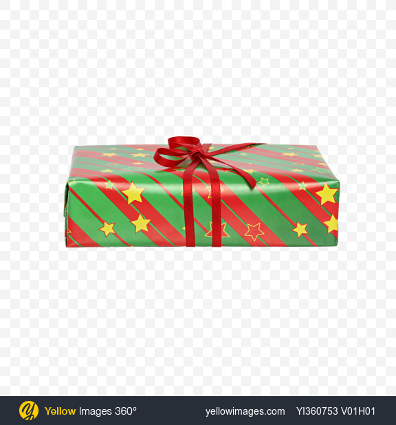 Download Christmas Gift Box Wrapped in Green Paper with Stripes and Stars Pattern Transparent PNG on YELLOW Images