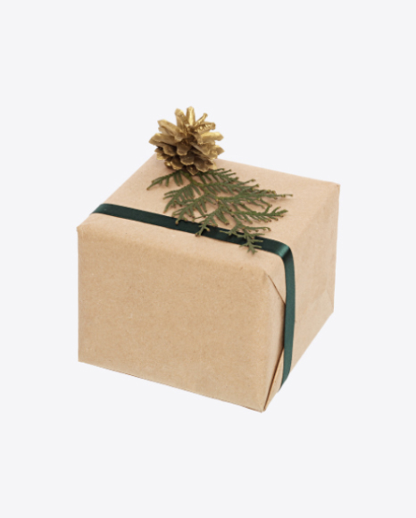Christmas Gift Box Wrapped in Craft Paper with Green Ribbon