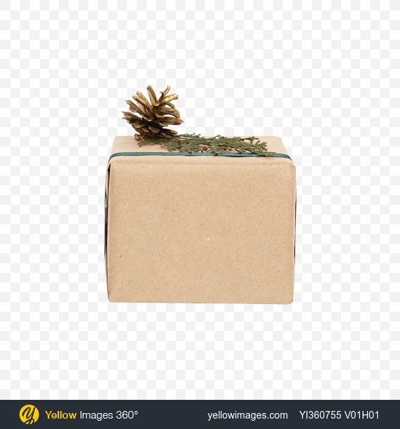 Download Christmas Gift Box Wrapped in Craft Paper with Green Ribbon Transparent PNG on YELLOW Images