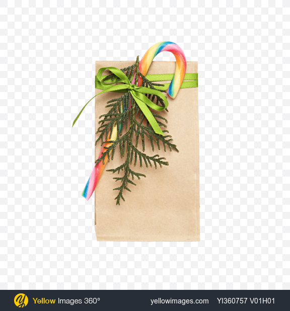Download Christmas Gift in Paper Bag with Candy Cane Transparent PNG on YELLOW Images