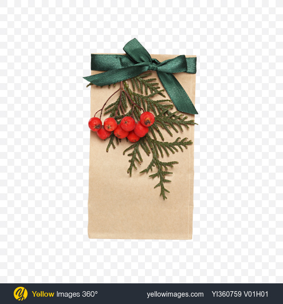 Download Christmas Gift in Paper Bag with Rowanberry Branch Transparent PNG on YELLOW Images