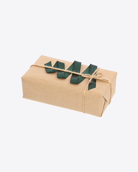 Christmas Gift Box Wrapped in Craft Paper with Green Ribbon Decor
