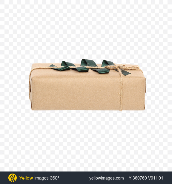 Download Christmas Gift Box Wrapped in Craft Paper with Green Ribbon Decor Transparent PNG on YELLOW Images