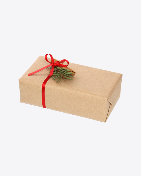 Christmas Gift Box Wrapped in Craft Paper with Cinnamon Stick Decor