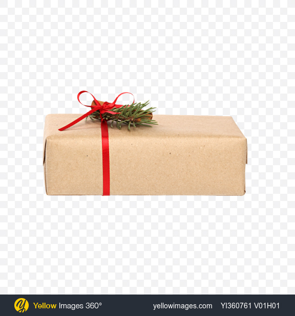 Download Christmas Gift Box Wrapped in Craft Paper with Cinnamon Stick Decor Transparent PNG on YELLOW Images