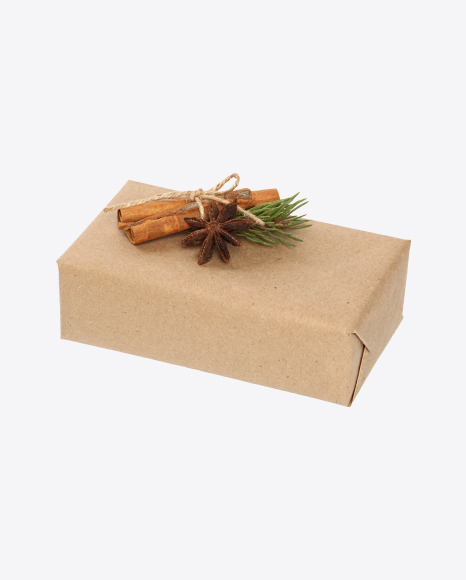 Box Wrapped in Craft Paper with Cinnamon, Anise and Spruce Branch